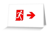 Running Man Fire Safety Exit Sign Emergency Evacuation Greeting Card 109