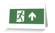 Running Man Fire Safety Exit Sign Emergency Evacuation Greeting Card 11