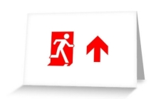 Running Man Fire Safety Exit Sign Emergency Evacuation Greeting Card 110