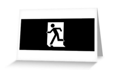 Running Man Fire Safety Exit Sign Emergency Evacuation Greeting Card 111
