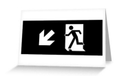 Running Man Fire Safety Exit Sign Emergency Evacuation Greeting Card 113