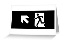 Running Man Fire Safety Exit Sign Emergency Evacuation Greeting Card 114