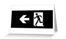 Running Man Fire Safety Exit Sign Emergency Evacuation Greeting Card 115
