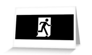 Running Man Fire Safety Exit Sign Emergency Evacuation Greeting Card 118