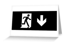 Running Man Fire Safety Exit Sign Emergency Evacuation Greeting Card 119