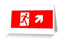 Running Man Fire Safety Exit Sign Emergency Evacuation Greeting Card 12