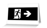 Running Man Fire Safety Exit Sign Emergency Evacuation Greeting Card 122