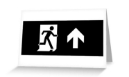 Running Man Fire Safety Exit Sign Emergency Evacuation Greeting Card 123