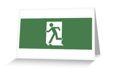 Running Man Fire Safety Exit Sign Emergency Evacuation Greeting Card 124
