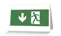 Running Man Fire Safety Exit Sign Emergency Evacuation Greeting Card 125