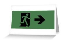 Running Man Fire Safety Exit Sign Emergency Evacuation Greeting Card 13