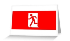 Running Man Fire Safety Exit Sign Emergency Evacuation Greeting Card 14