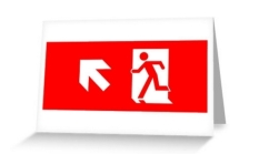 Running Man Fire Safety Exit Sign Emergency Evacuation Greeting Card 17