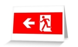 Running Man Fire Safety Exit Sign Emergency Evacuation Greeting Card 18