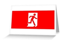 Running Man Fire Safety Exit Sign Emergency Evacuation Greeting Card 20