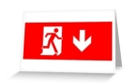 Running Man Fire Safety Exit Sign Emergency Evacuation Greeting Card 21