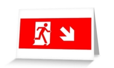 Running Man Fire Safety Exit Sign Emergency Evacuation Greeting Card 23