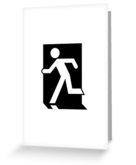Running Man Fire Safety Exit Sign Emergency Evacuation Greeting Card 26