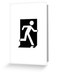 Running Man Fire Safety Exit Sign Emergency Evacuation Greeting Card 27