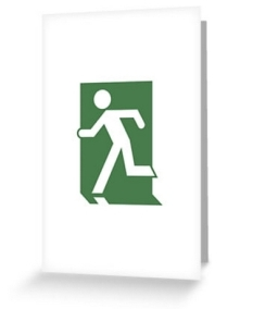 Running Man Fire Safety Exit Sign Emergency Evacuation Greeting Card 28