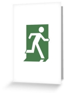 Running Man Fire Safety Exit Sign Emergency Evacuation Greeting Card 29