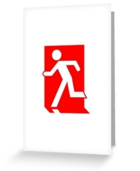 Running Man Fire Safety Exit Sign Emergency Evacuation Greeting Card 30