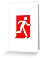 Running Man Fire Safety Exit Sign Emergency Evacuation Greeting Card 31