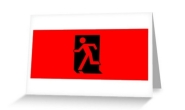 Running Man Fire Safety Exit Sign Emergency Evacuation Greeting Card 32