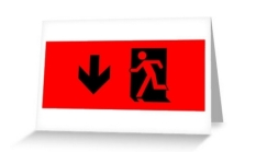 Running Man Fire Safety Exit Sign Emergency Evacuation Greeting Card 33