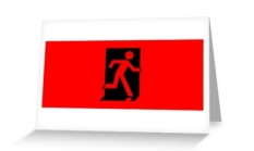 Running Man Fire Safety Exit Sign Emergency Evacuation Greeting Card 38