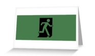 Running Man Fire Safety Exit Sign Emergency Evacuation Greeting Card 39
