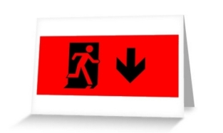 Running Man Fire Safety Exit Sign Emergency Evacuation Greeting Card 40