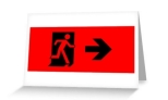 Running Man Fire Safety Exit Sign Emergency Evacuation Greeting Card 43