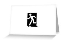 Running Man Fire Safety Exit Sign Emergency Evacuation Greeting Card 45