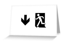 Running Man Fire Safety Exit Sign Emergency Evacuation Greeting Card 46