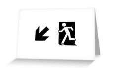Running Man Fire Safety Exit Sign Emergency Evacuation Greeting Card 47