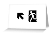 Running Man Fire Safety Exit Sign Emergency Evacuation Greeting Card 48