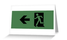 Running Man Fire Safety Exit Sign Emergency Evacuation Greeting Card 50