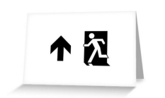 Running Man Fire Safety Exit Sign Emergency Evacuation Greeting Card 51