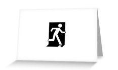 Running Man Fire Safety Exit Sign Emergency Evacuation Greeting Card 52