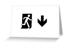 Running Man Fire Safety Exit Sign Emergency Evacuation Greeting Card 53