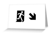 Running Man Fire Safety Exit Sign Emergency Evacuation Greeting Card 54