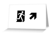 Running Man Fire Safety Exit Sign Emergency Evacuation Greeting Card 55