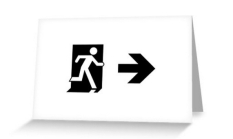 Running Man Fire Safety Exit Sign Emergency Evacuation Greeting Card 56