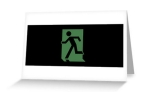 Running Man Fire Safety Exit Sign Emergency Evacuation Greeting Card 58