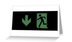 Running Man Fire Safety Exit Sign Emergency Evacuation Greeting Card 59