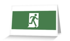 Running Man Fire Safety Exit Sign Emergency Evacuation Greeting Card 6