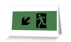 Running Man Fire Safety Exit Sign Emergency Evacuation Greeting Card 61