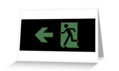Running Man Fire Safety Exit Sign Emergency Evacuation Greeting Card 63