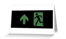 Running Man Fire Safety Exit Sign Emergency Evacuation Greeting Card 64
